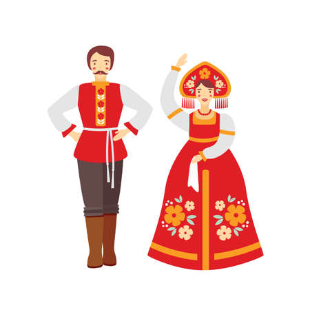 Russian folk costume flat vector illustration. Man and woman wearing traditional clothes cartoon characters. Girl in red sarafan and national headwear, kokoshnik. Folk dance group artists.  イラスト・ベクター素材
