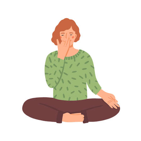 Woman doing yoga flat vector illustration. Young girl in cross-legged pose practicing breathing technique cartoon character. Woman focused on pranayama exercise. Spiritual enlightenment concept