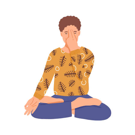 Man doing yoga flat vector illustration. Young boy practice breathing techniques in lotus pose cartoon character. Male yogi practicing relaxation asana. Man focused on pranayama exercise. Vector Illustration