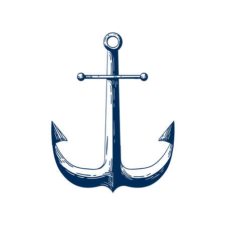 Classic sea anchor vector illustration. Nautical vessel mooring device, Traditional ship accessory isolated on white background. Traditional sailor tattoo monochrome design. Yacht club logotype idea. Illustration