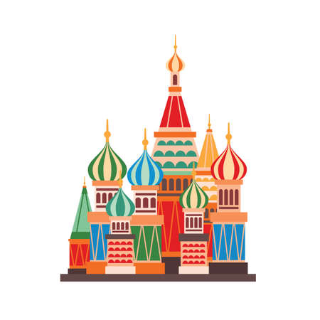 Saint Basils cathedral flat vector illustration. Prominent Moscow landmark isolated on white background. Cartoon Russian Orthodox church with multicolor domes. Famous Russian architecture building. Vector Illustratie