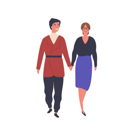 Happy couple on stroll flat vector illustration. Young man and woman walk holding hands cartoon characters. Romantic relationship, dating design element. Married pair, spouses spend time together.