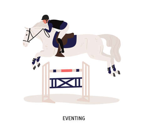 Eventing, equestrian competition flat vector illustration. Horse rider, horseman cartoon character. Equestrian show, performance. Horse jumping over barrier isolated on white background.