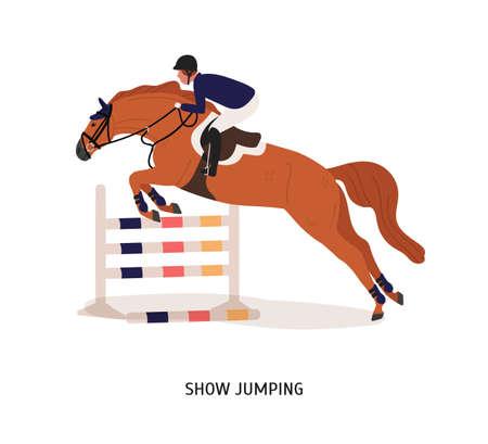 Visualizza illustrazione vettoriale piatto di salto. Cavaliere del cavallo, personaggio dei cartoni animati dell'atleta. Spettacolo equestre, concetto di competizione a cavallo. Equino che salta sopra la barriera isolata su fondo bianco.