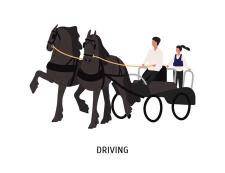 Driving horse carriage flat vector illustration. Chariot driver, coachman and passenger cartoon characters. Entertainment, equestrian sport competition. Horse cart isolated on white background.