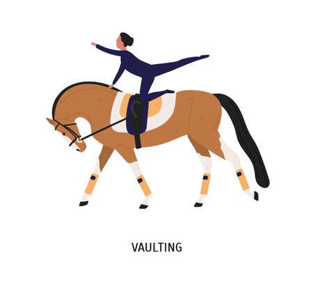 Vaulting, horse riding tricks flat vector illustration. Female gymnast cartoon character. Acrobatic riding, equestrian gymnastics competition concept. Horse and acrobat isolated on white background.
