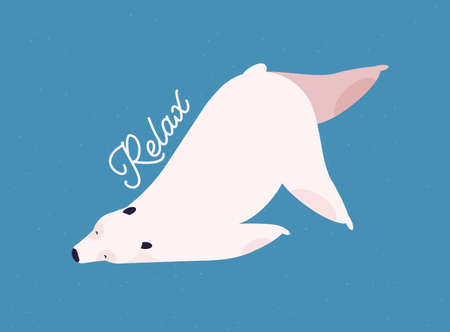 Relaxing polar bear flat vector illustration. Relaxation and recreation concept. Cute mammal in yoga pose, resting white bear with calligraphic inscription isolated on blue background.
