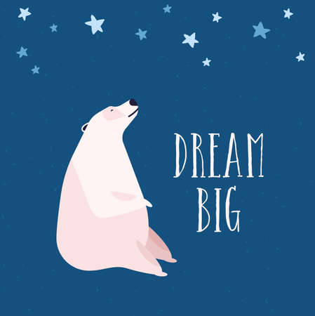Polar bear flat vector illustration. Reverie and dreaminess, stargazing concept. Arctic wild animal looking at night starry sky. Cute white bear, northern mammal on blue background. Ilustrace