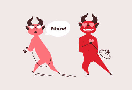 Devils unrequited love flat vector illustration. Strong affection, friend zone, obsession concept. Red demon neglecting admirer feelings cartoon characters. Funny hell creature walking away from lover.