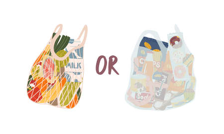 Turtle bag and plastic bag flat vector illustration. Important choice concept. Organic products and junk food isolated on white background. Choosing between healthy and unhealthy nutrition.