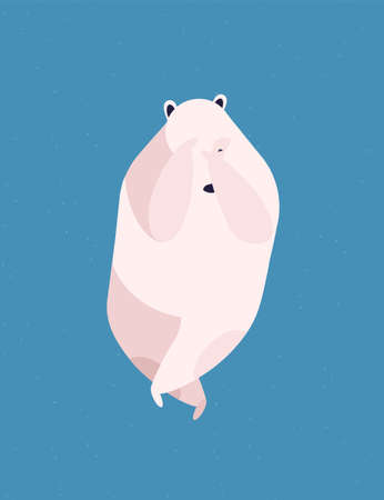 Shy polar bear flat vector illustration. Embarrassment, shyness and modesty, timidity concept. Cute arctic mammal, adult white bear covering face with paws isolated on blue background.