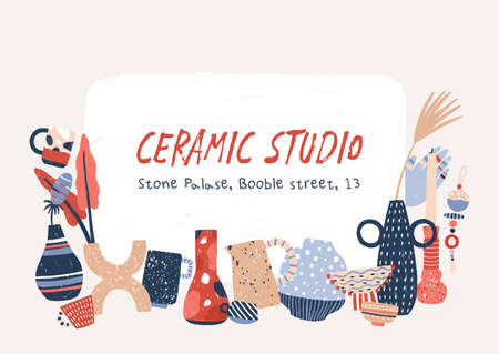 Ceramic studio products hand drawn vector banner template. Porcelain home decor accessories. Modern handcrafted pottery drawing with handwritten text. Handmade vases, crockery and candlesticks Vettoriali