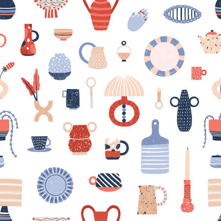 Ceramic tableware flat vector seamless pattern. Stylish handcrafted pottery texture. Modern decorative kitchen accessories illustrations. Creative fabric, wallpaper, wrapping paper design. Vettoriali