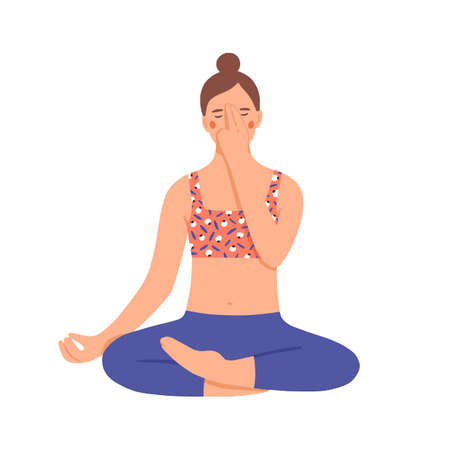 Girl practicing pranayama. Young woman use special breathing technique. Character doing yoga in lotus position. Relaxation and breath control. Colorful vector illustration in flat cartoon style Vector Illustration