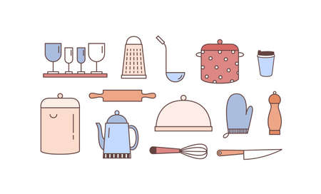 Kitchenware linear vector icons set. Various kitchen utensils outline illustrations isolated on white background. Dinnerware kit, crockery. Saucepans, tableware and cooking accessories. Ilustrace