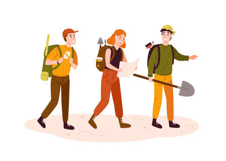 Archeologists team, researchers group flat vector illustration. Excited men and woman with archeological equipment reading map cartoon characters. Treasure hunters searching for artifacts. 일러스트