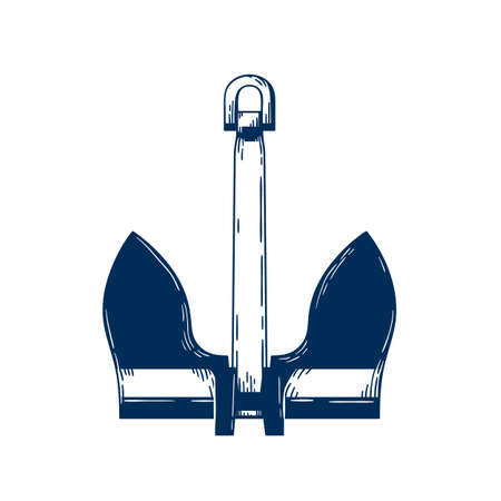 Stockless sea anchor vector illustration. Naval ship mooring device, Nautical vessel attribute isolated on white background. Traditional Seafarer, sailor tattoo vintage design. Sailing symbol.
