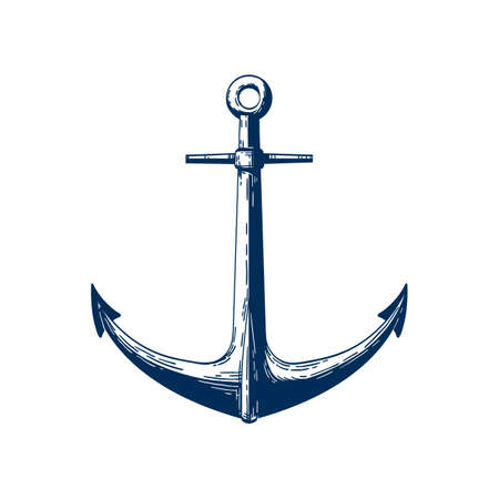 Classic marine anchor vector illustration. Nautical vessel mooring appliance, Traditional ship accessory isolated on white background. Classic sea themed tattoo design. Yacht club vintage logo.  イラスト・ベクター素材
