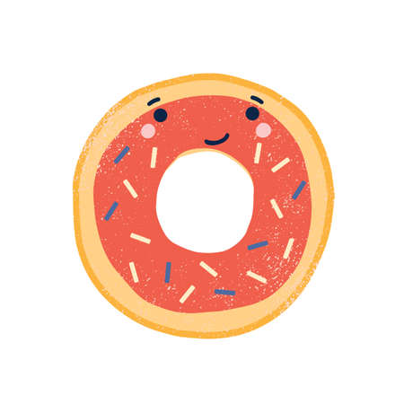 Cute doughnut flat vector illustration. Adorable smiling donut cartoon character. Delicious pastry, sweet dessert with face. Funny glazed donut with sprinkles isolated on white background. Ilustração
