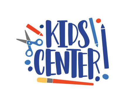 Creative center flat vector logo. Children development studio typography composition. Art lessons concept. Color lettering isolated on white background. Childish art center logotype design.