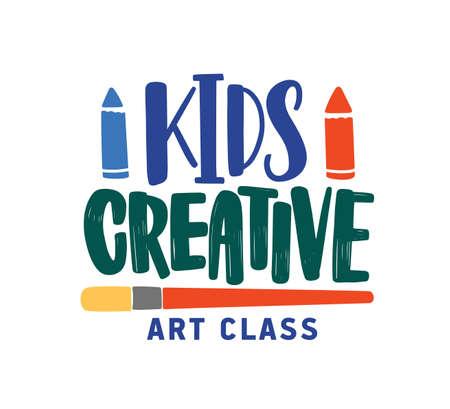 Kids creative art class flat vector logo. Childish educational centre, development studio social media banner concept. Colorful lettering isolated on white background. Art school logotype design.