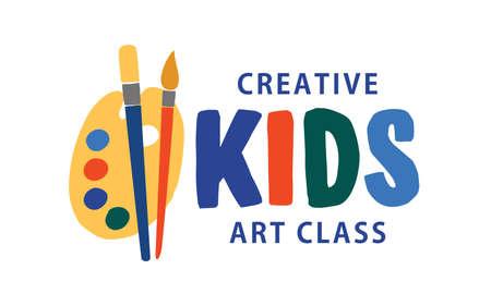 Kids art class flat vector logo. Creative educational centre, children development studio concept. Lettering isolated on white background. Drawing lesson, art school logotype design.