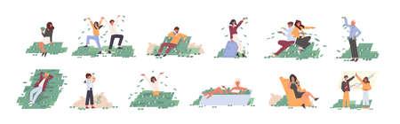 Flache Vektorillustrationen der reichen Leute eingestellt. Finanzieller Erfolg, Lotteriegewinn, Vermögen, Glückskonzept. Männer und Frauen mit Geldzeichentrickfilm-Figurensammlung lokalisiert auf weißem Hintergrund. Vektorgrafik