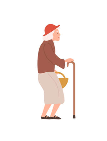Old lady flat vector illustration. Elderly woman with walking stick. Age, oldness, senility, health problems. Senior female, grandmother cartoon character isolated on white background