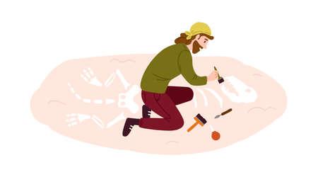 Archeology, paleontology flat vector illustration. Archaeological excavation, scientific research, ancient animal skeleton exploration. Male archaeologist, paleontologist cartoon character
