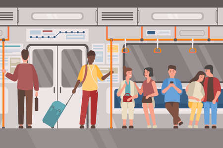 Metro, subway train, public transport flat vector illustration. Underground railway carriage interior, people in suburban electric train. Male and female passengers, commuters cartoon characters.
