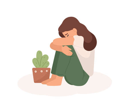 Sad young girl flat vector illustration. Bad mood, melancholy, sorrow, negative emotions concept. Crying woman hugging her legs and flowerpot cartoon character isolated on white background Illustration