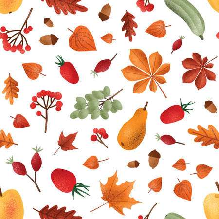 Autumn harvest vector seamless pattern. Seasonal fruits and berries, acorns and leaves texture. Vegetables and foliage background. Creative textile, wallpaper, wrapping paper design. Ilustração
