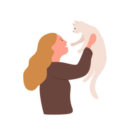 Fille avec illustration vectorielle plane pour animaux de compagnie. La gentillesse, la bonté, les soins aux animaux, jouer avec le chat. Loisirs à domicile, concept de divertissement. Jeune femme tenant un personnage de dessin animé ami à quatre pattes.