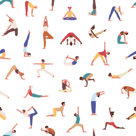 People practicing yoga vector seamless pattern. Yogis, athletes, men and women doing exercises texture. Sportsmen in asanas background. Creative textile, wallpaper, wrapping paper design.