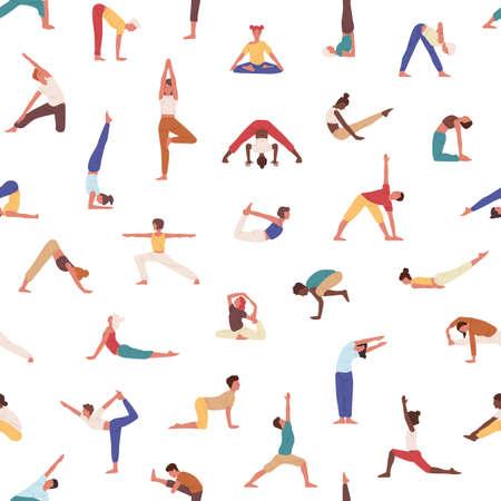 Personas practicando yoga vector de patrones sin fisuras. Yogis, deportistas, hombres y mujeres haciendo ejercicios de textura. Deportistas en el fondo de asanas. Textil creativo, papel tapiz, diseño de papel de regalo.