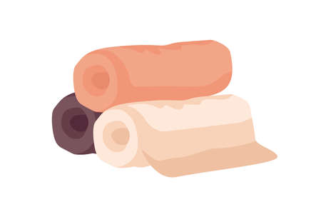Bathroom towels flat vector illustration. Beige, orange and brown rolled towels pile isolated on white background. Spa center, hotel textile accessories. Luxury soft bathroom linen.