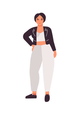 Plus size dark haired girl flat vector illustration. Curvy caucasian female cartoon character wearing white costume and black jacket. Body positive concept. Plump woman isolated on white background.