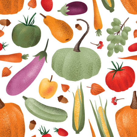 Autumn harvest vector seamless pattern. Ripe vegetables fruits and berries cartoon illustrations. Fall season agricultural produce wallpaper design. Organic veggies store wrapping paper print
