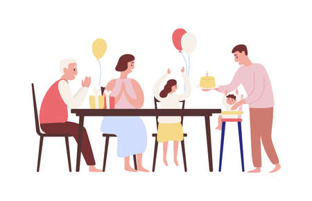 Child first birthday celebration flat vector illustration. Cake smash party event. Family celebrating baby one year anniversary sitting at table cartoon characters. Grandfather greeting toddler.