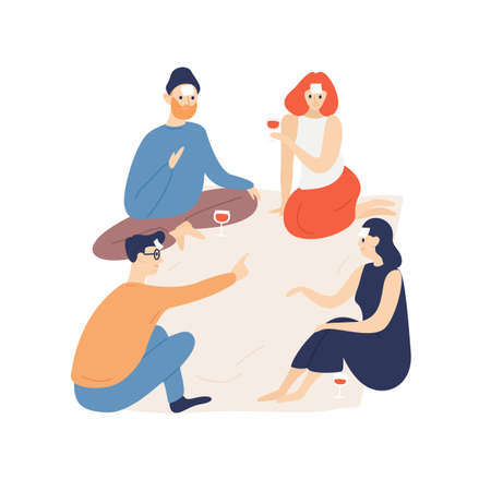 Friends relaxing indoors flat vector illustration. Young people playing game with sticker notes stuck to forehead cartoon characters. Boys and girls drinking wine. Pleasant pastime, entertainment idea.