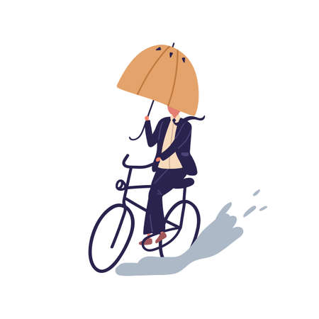 Businessman ride on bicycle under umbrella vector flat illustration. Cartoon man in suit cycling on puddle at autumn rainy day isolated on white background. Male way on bicycling overcoming obstacles.