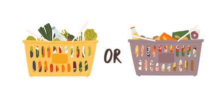 Two large grocery nutrition baskets vector flat illustration. Choosing between abundance of junk and wholesome meal. Cartoon healthy useful snack versus harmful fast food isolated on white background.