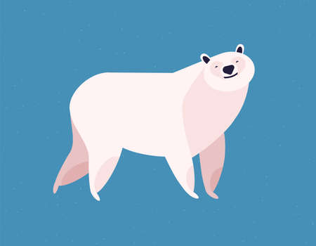 Friendly white polar bear at blue ice winter background vector flat illustration. Wild arctic animal cute character. North pole zoo icon