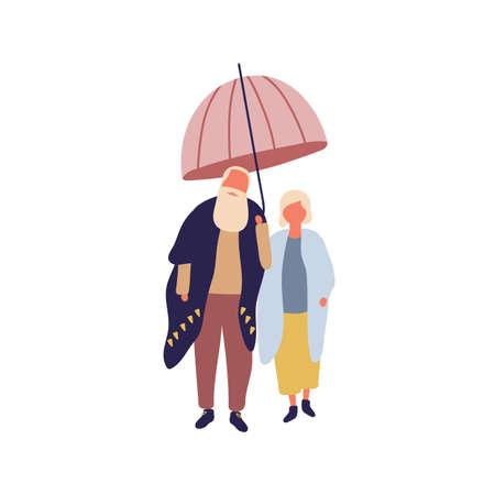 Stylish mature cartoon male and female under umbrella vector flat illustration. Fashionable elderly couple wearing season outfit isolated on white background. Aged family character autumn promenade. Ilustrace