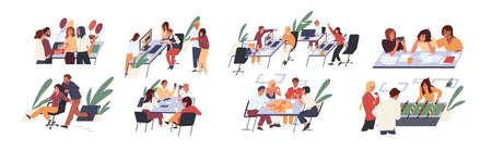 Kreative Leute des Teams, die Spaß an der flachen Vektorillustration des Bürosatzes haben. Sammlung Cartoon-Figur jubelnde Pause bei der Arbeit isoliert auf weißem Hintergrund. Glücklicher Unternehmensmann und -frau, die Spiele spielen. Vektorgrafik
