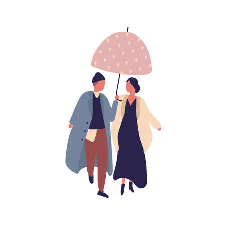 Young casual cartoon couple walking under umbrella at rainy day vector flat illustration. Man and woman character in stylish coat outfit at autumn season isolated on white background