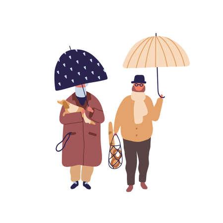 Elderly couple promenade under umbrella vector flat illustration. Aged cartoon man and woman walking with dog at autumn season weather. Family jaunt at rainy day isolated on white background