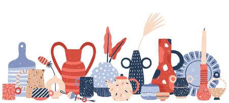 Modern handmade pottery hand drawn vector background illustration. Decor porcelain handcraft product of ceramic studio. Craft vases, crockery and candlesticks isolated on white