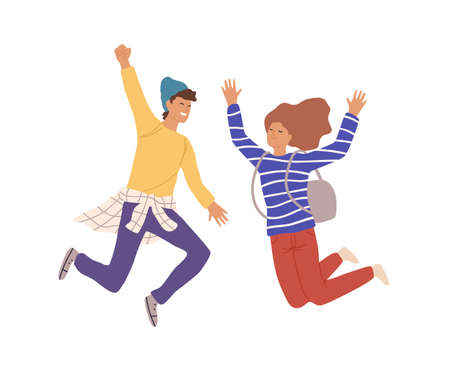 Two smiling teenage people jumping raising hands vector flat illustration. Cartoon young male and female having positive emotion isolated on white background. Rejoicing couple character Иллюстрация