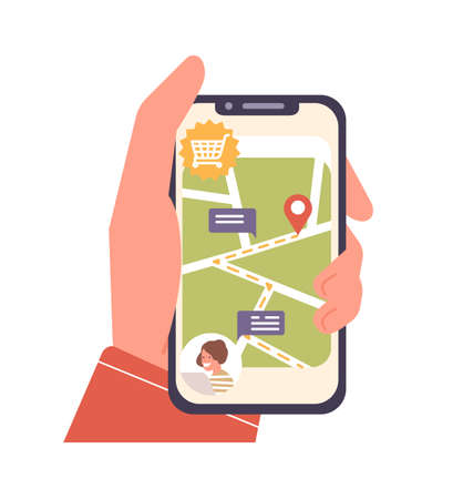 Human cartoon hand holding smartphone with map and location mark on screen vector flat illustration. Order delivery online tracking isolated on white background. Modern technology device application. Иллюстрация